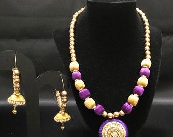 Silk Purple and Gold Jewelry - Silk Thread Jewelry - Indian Jewelry - Pakistani Jewelry - Temple Jewelry - Kundan Jewelry - Jhumki Earrings