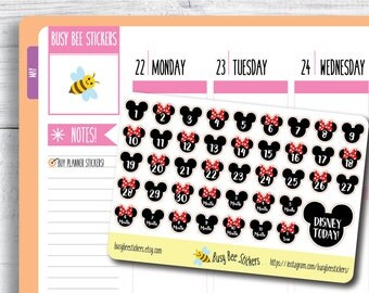 Disney Countdown Stickers, Planner Stickers, Disney World, Disneyland, Vacation Stickers,  Happy Planner Stickers, Erin Condren Stickers.