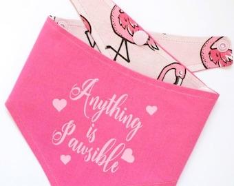 Flamingo Bandana, Pet Bandana, Dog Bandana, Dog clothing, Anything Is Pawsible, Quirky Bandana