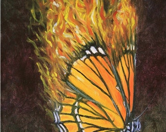 Fine Art Giclee Print of Original Oil Painting - Butterfly Flames
