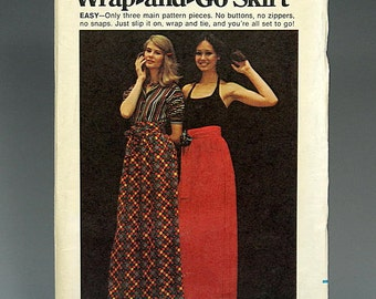 Butterick 6809, Size Medium, Vintage Pattern, Wrap and Go Skirt, Fast and Easy, 1970's, Long Skirt, Wrap Skirt, Boho, Hippie