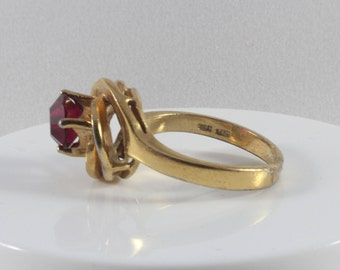 Gold Tone Red Cz Swirl Ring Size 6.25