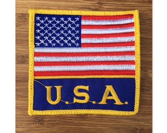 add Vintage U.S.A. Amercian Flag Patch to any shorts, jeans or jackets