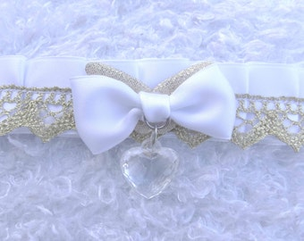 white gold Kitten Play Collar lolita