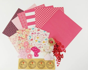Pink Scrapbooking Kit, Valentine Paper Kit, Junk Journal, Embellishment, Die cuts, Envelopes Cardmaking - Craft pack, Snail Mail