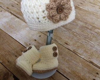 Spring Hat and Booties Set