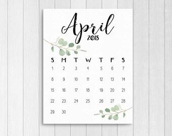 Pregnancy Announcement Calendar | Baby Announcement Printable | Due Date Reveal | April 2018 Calendar | Save The Date Printable | Digital