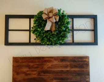 Faux Window Frame | 8 Pane with Wreath, Farmhouse Long Rectangle Modern Window decor, wall hanging window frame, old antique wooden mantle