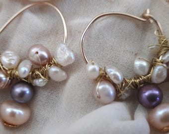 Gold filled 14 k-r earrings with freshwater pearls 21