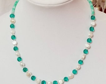 Aqua glass and freshwater pearl necklace