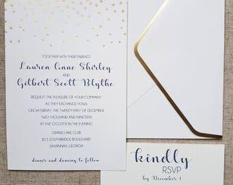 Gold Foil Wedding Invitations [Set of 10]