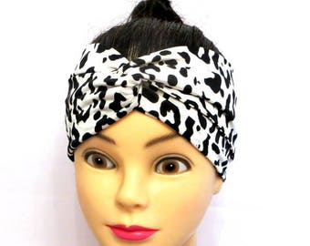 Twisted turban Headband animal print, Turban Headband black and white,Turban Headband black and white leopard, women's headband,gift for her