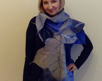 Unique nuno felted scarf from thin merino wool on a silk basis in the form of big leaves of gray-blue shades, Designer scarf for the woman
