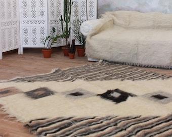 Scandinavian rug, wool area rug, hand woven carpet rug, throw rug, throw blanket, striped rug, geometric rug, area rug, wool rug living room