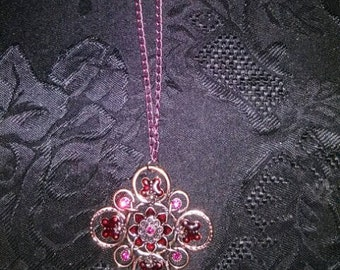 Burgundy & Pink Flower Butterfly Necklace