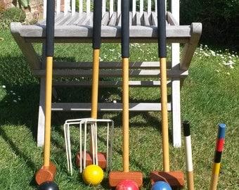 Vintage Croquet Set | Garden Games | In Original Box | Escor Toys | Set of Four Wooden Mallets and Balls | 1960's Decor