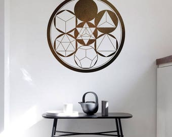 Platonic Solids SACRED GEOMETRY GEOMETRIC Wall Decal Line Circle Mandala