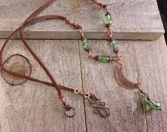 Copper moon pendant