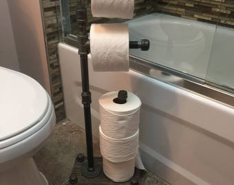 toilet paper stand - Industrial Style freestanding 5 roll toilet paper holder - retro toilet paper holder