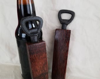Wine Barrel Stave Bottle Opener, Beer Opener, Wine Stave, Beer, Gift, Father's Day, Bachelor, Housewarming, Handcrafted, Cast Iron