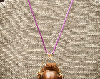 Carved Wood Frog Netsuke Pendant Necklace