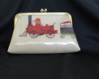 Vintage 50s – 60s Vinyl Coin Purse – Train Motif