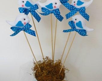 12 centerpieces little bird- Felt birds-Baby shower decoration-Baptism decoration-birthday decoration-12 bird centerpieces made in felt