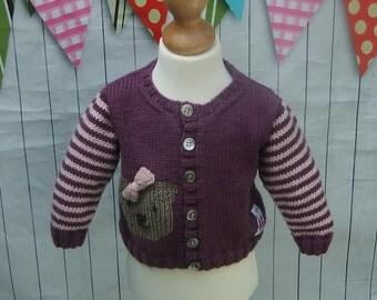 Hand KNITTED BABYS CARDIGAN - Purple Pink Striped Cardigan - Teddy Cardigan - New Baby Girls Cardigan - Baby Shower Gift - Pure merino Wool