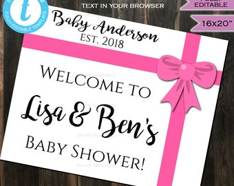Baby Shower Welcome Sign Baby Sprinkle Board Baby Girl & Co Bow Pink Party Decorations Template Custom Printable INSTANT Self EDITABLE 16x20