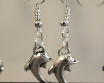Dolphin silver charm earrings