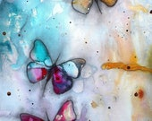 """Confetti butterflies, Butterflies, Butterfly, Butterfly print, Butterfly painting, Wall art, Giclee, 16x20"""", Matted, Intuitive art"""
