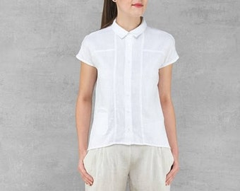 LINEN blouse - made in Europe - bright white Summer garment