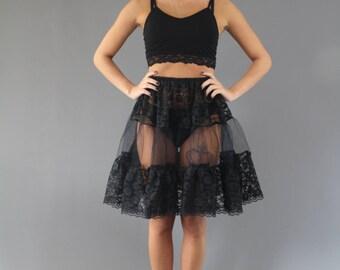Black Lace Petticoat edged in Delicate Lace Trim