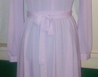 Vintage Lilac Victorian Style Dress Flirty Whimsical Sheer