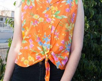 90's Vintage Orange Hawaiian Tie Button Up Tank Shirt, Size S