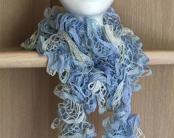 Icy Blue-White-Gray-Shimmer Ruffle Knit Scarf/Ruffle yarn knit scarf / Blue knit scarf
