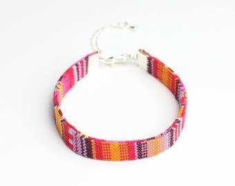 Multicolor fabric boho bracelet