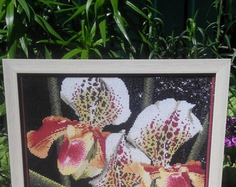 Hand Made Picture of a diamond mosaic Wild Orchid, VERY BEAUTIFUL PICTURE