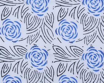 Hand Block Rose print,2 color variation Blue and Orange Color , 1 Yard