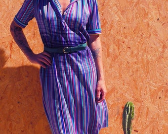 French Vintage 1980's striped dress