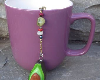 Avocado Tea Infuser with Flower Dish - Handmade Tea Trinket Infuser