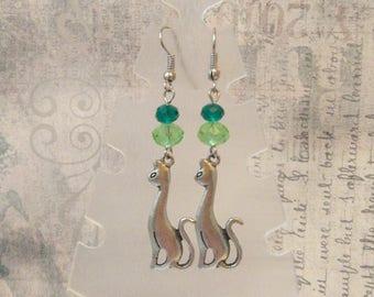 Silver green cat cute animal earrings crazy cat lady green boho woman vegan jewelry kitty cat meow earrings pet owner cute gift for sister