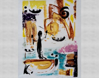 Abstract painting, abstract expressionism, oil painting, large wall art, oil on paper.