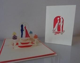 Bride and Groom with Flower Pedestal Stands Pop up Card-wedding (sku113)