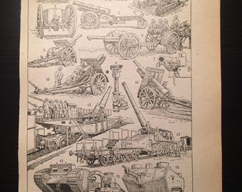 Artillerie - Artillery - Antique French Dictionary Page - Original 1940s Illustrated Lithograph