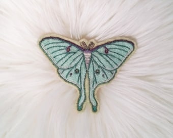 Hand Embroidered Luna Moth Patch - Sew on Patch, Textile Art, Hand Stitched, Moth, Entomology