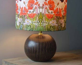 Red Admirals and Poppies Lampshade - butterfly lampshade, flower lampshade, lamp shade, floral lampshade, rustic lampshade, insects flowers