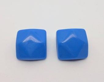 Blue Square Stud Earrings