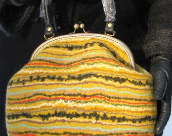 Handmade felted purse, Wool frame purse, Wool Handbag