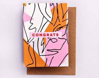 Botanic Print Congrats Card, Fashion Stationery, Fashion Card, Fashion Gift, Cool Card, Congrats, Encouragement Card, Pink, Floral